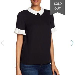 Cece Black& White Peter Pan Collar T-Shirt
